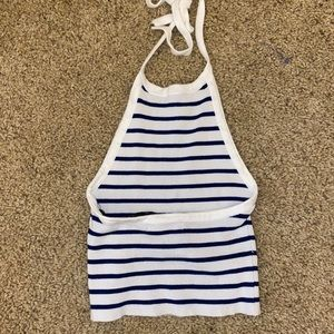 Forever 21 Tops - Navy blue & white striped crop top